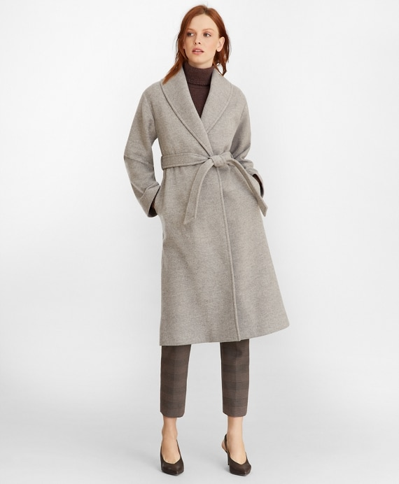 Wool Wrap Coat - Brooks Brothe
