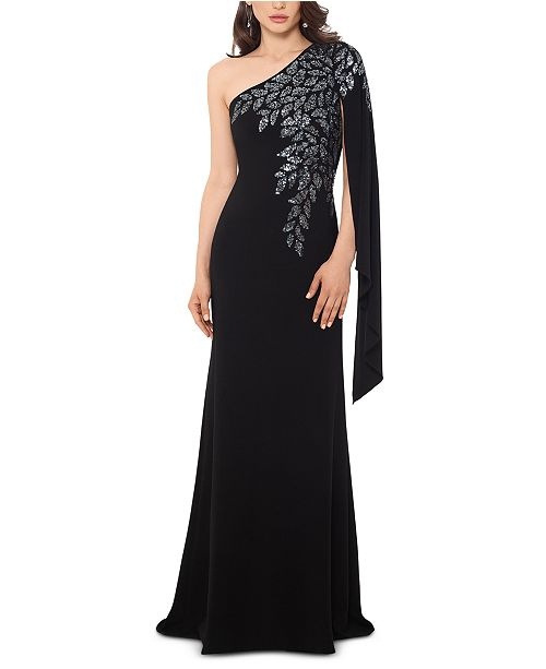 XSCAPE Embellished One-Shoulder Gown & Reviews - Dresses .