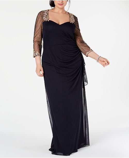 XSCAPE Plus Size Embellished Illusion Gown & Reviews - Dresses .