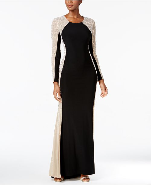 XSCAPE Rhinestone Illusion Gown & Reviews - Dresses - Women - Macy