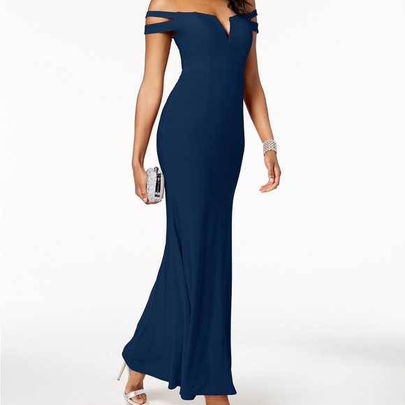 Xscape Dresses | Gown Off The Shoulder Royal Blue Long Dress .