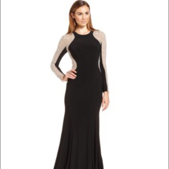 Xscape Dresses | Long Sleeve Studded Colorblock Gown Size 4 | Poshma