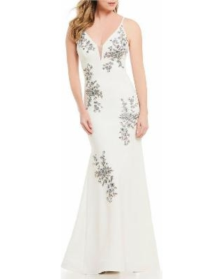 New Savings on Beaded Embroidery Evening Dress - White - Xscape .