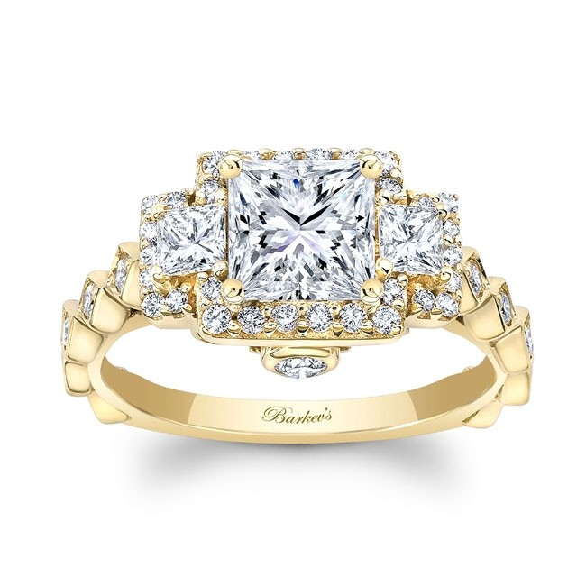 Barkev's Yellow Gold Princess Cut Diamond Engagement Ring 8161LY .