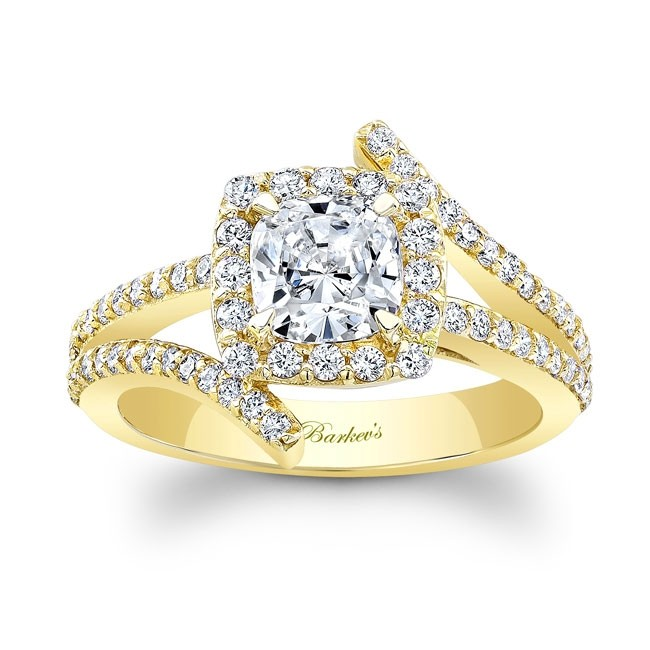 Barkev's Yellow Gold Cushion Cut Engagement Ring 8005LY | Barkev