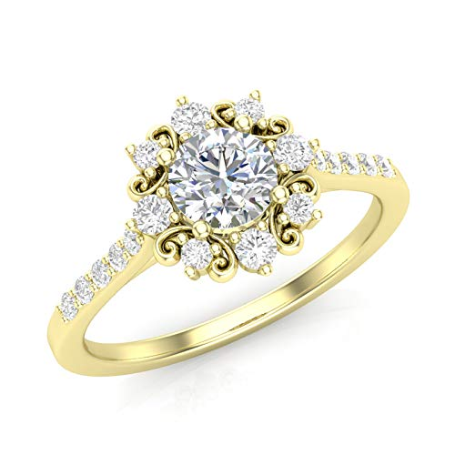 Amazon.com: Yellow Gold Vintage Halo Engagement Ring Dainty Scroll .