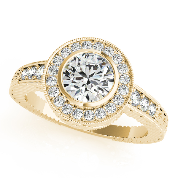 14K Yellow Gold Round Halo Engagement Ring 50293-E-21-2-14KY .