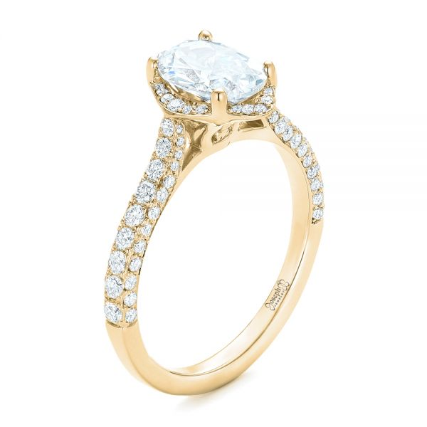 14k Yellow Gold Oval Diamond Halo And Pave Engagement Ring #102556 .