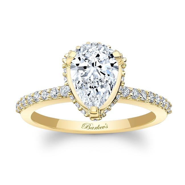 Barkev's Yellow Gold Pear Shape Diamond Engagement Ring 8160LY .