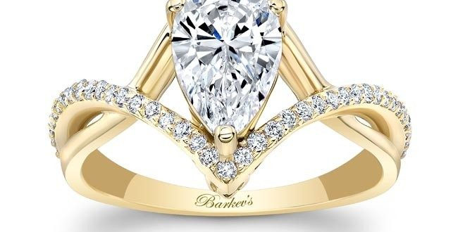 Barkev's Yellow Gold Pear Shape Diamond Engagement Ring 8168LY .