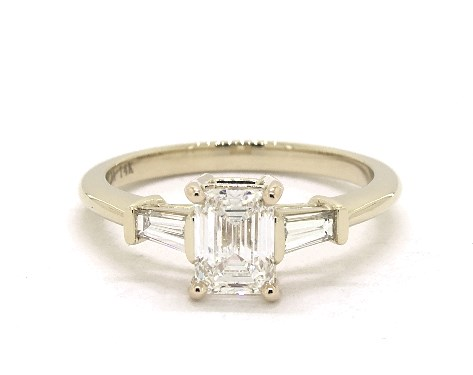 0.90 Carat Emerald Cut Side stones Engagement Ring in 14K Yellow .
