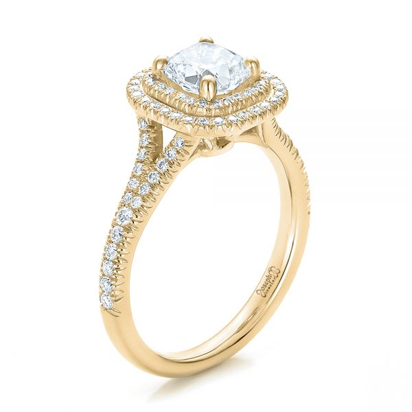 14k Yellow Gold Custom Double Halo Diamond Engagement Ring #100613 .