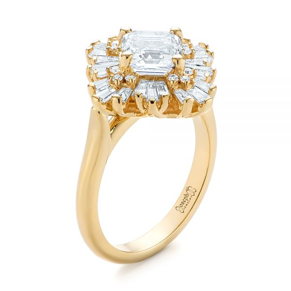 Custom Vintage Style Asscher Diamond Engagement Ring #104398 .