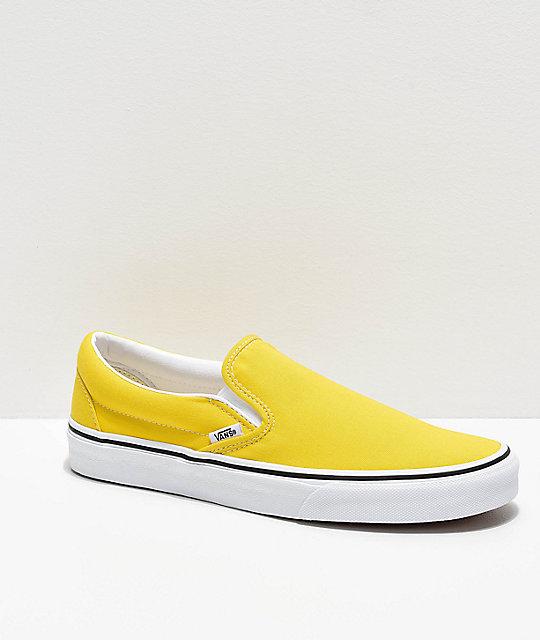 Vans Slip-On Vibrant Yellow & White Skate Shoes | Zumi