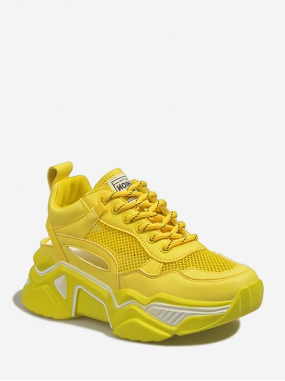 43% OFF] 2020 Lace-up Mesh Trim Platform Sport Shoes In YELLOW | ZAF