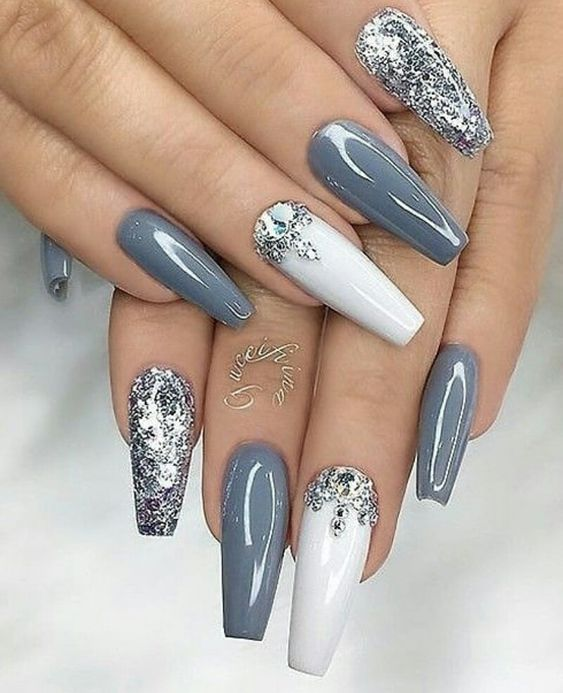 Newest Acrylic Coffin Nail Ideas With Different Colors | Silver .