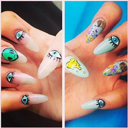 90s Nail Art | Alien nails, Funky nails, Nail desig