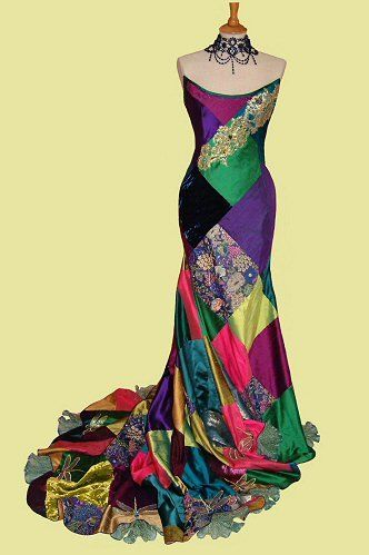 Amazing Patchwork Silk dress | Christmas wedding dresses .