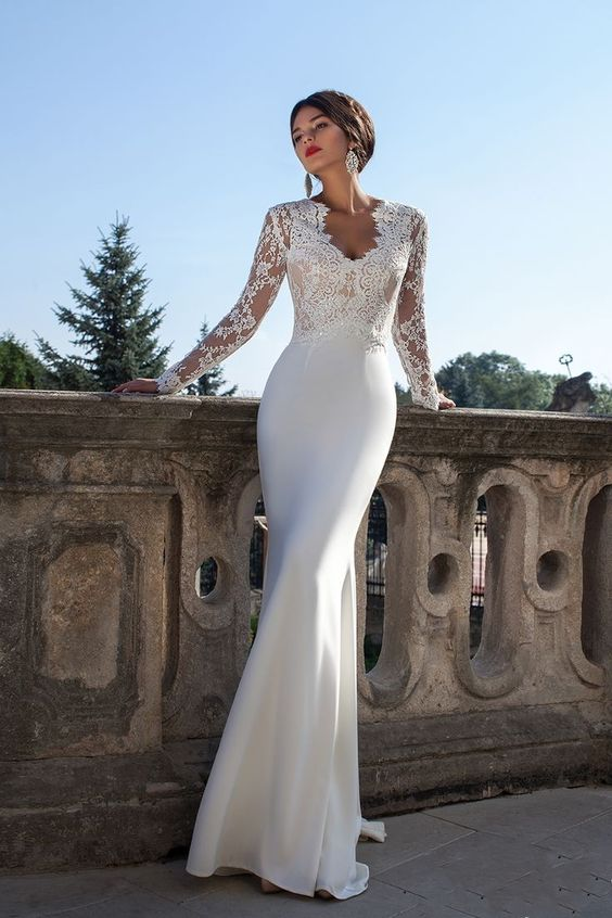Awesome Pure White Satin Wedding Dress With Lace Top / life decor .