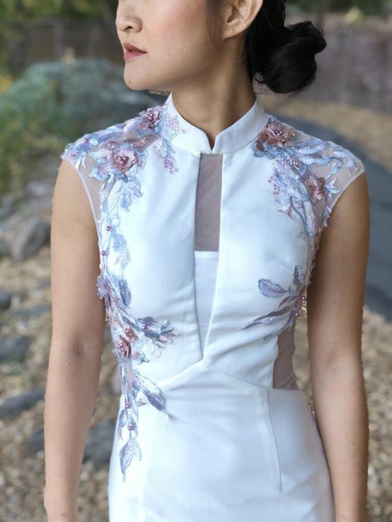 Custom Modern White Cheongsam | Cheongsam Dress | Custom Qipao .