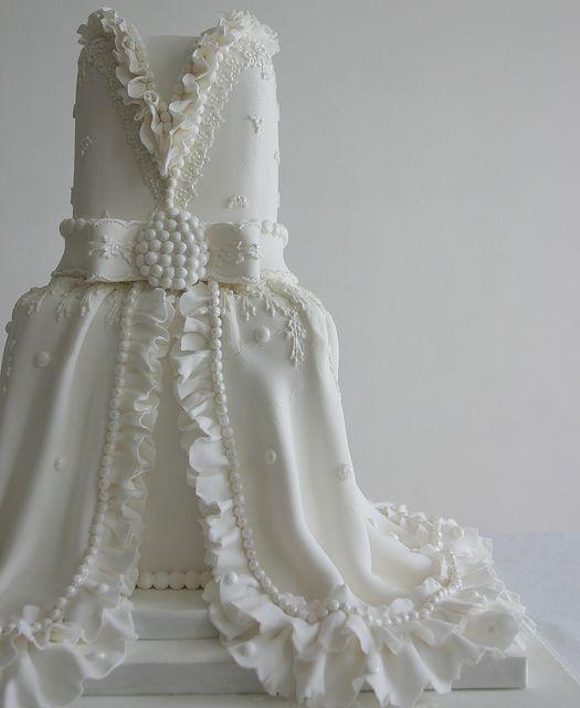 Lace and Ruffles Wedding cake | Wedding dress cake, White wedding .