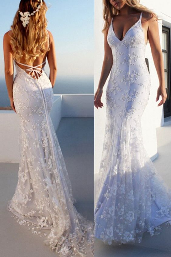 Mermaid Spaghetti Straps Lace Beach Wedding Dress 2019 | Lace .