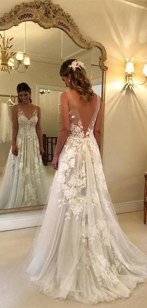 Lace Applique Ivory Beach Wedding Dresses V Neck Backless Wedding .
