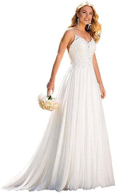 SZMX Spaghetti Strap Simple Beach Wedding Dresses Bridal Gowns at .