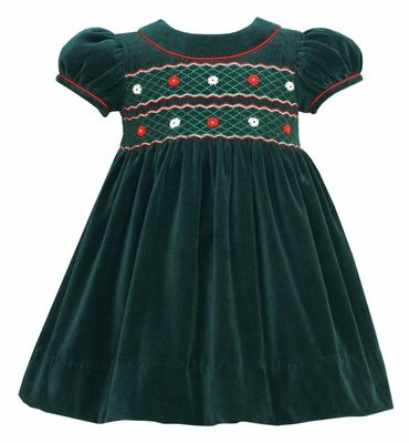 Anavini Baby / Toddler Girls Green Velvet Christmas Dress .