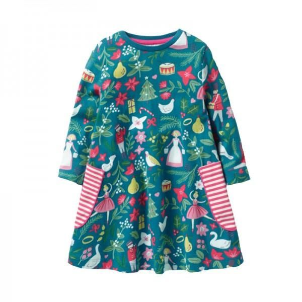 Stylish Christmas Theme Patterned Long-sleeve Dress for Toddler .