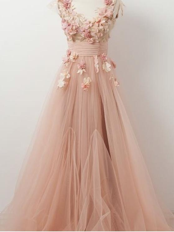 A-line V neck Beautiful Floral Prom Dresses Tulle Long Prom Dress .