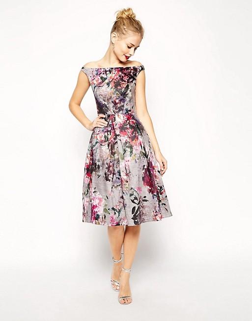 ASOS Beautiful Floral Printed Midi Prom Dress | AS