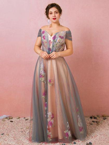 A-line Off-the-shoulder Prom Dress Beautiful Floral Tulle Long .