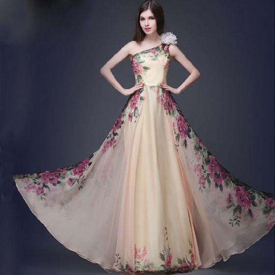 Chic / Beautiful Beige Chiffon Maxi Dresses 2018 A-Line / Princess .