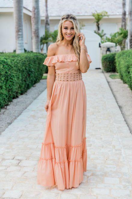 When You Look At Me Peach Maxi Dress in 2020 | Peach maxi dresses .