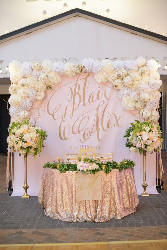 100 Amazing Wedding Backdrop Ideas | Rose gold wedding decor, Gold .