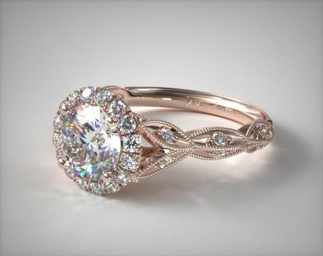 14K Rose Gold Milgrain Navette Halo Engagement Ring in 2020 .