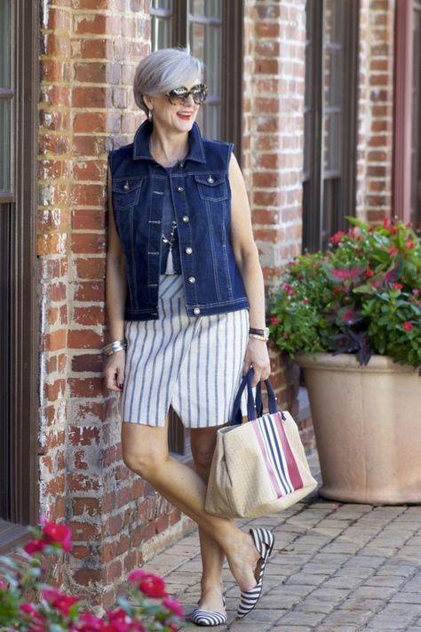 15 The Best Ageless Styles You Will Like | Denim fashion, Stripe .