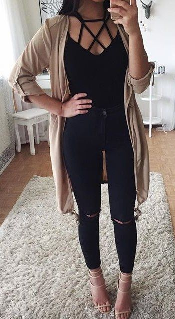 summer #outfits Beige Cardigan + Black Lace-up Top + Ripped Skinny .