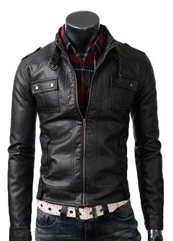 Strap Pocket Slimfit Black Leather Jacket | Avail Best Off