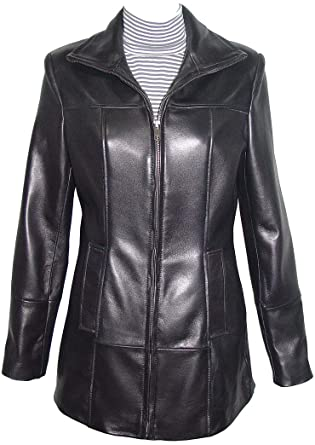 Paccilo 14P Size Best Cool Black Leather Jacket with Hoodie Women .