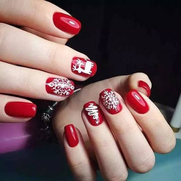 best christmas nails with snowflakes red white #nail #design .