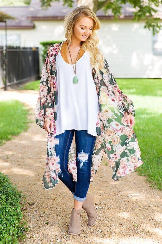 22 Outfit Ideas With Kimonos | Glam is Here | Kimono fashion .