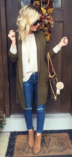 70+ Best Green Cardigan Outfit images in 2020 | green cardigan .