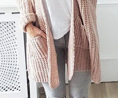 cute #outfits Pink Cardigan // White Top // Grey Destroyed Jeans .