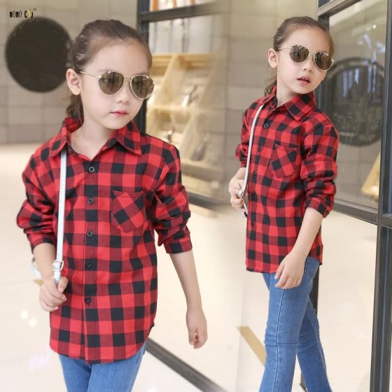 Shop Shirts For Girls School Teenager Plaid Long Sleeve Cotton .