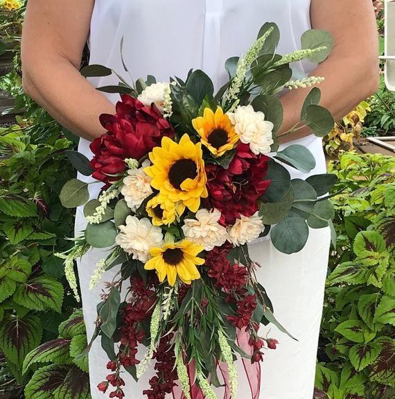 Cascading Crimson Sunflower Bridal Bouquet-Silk Cascading Autumn .