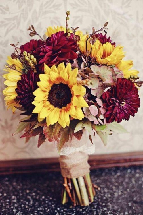 50+ Best Fall Wedding Bouquets With Sunflowers | Sunflower wedding .