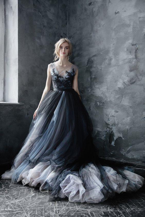 50 Best Florat Wedding Dress Ideas | Black lace wedding, Black .