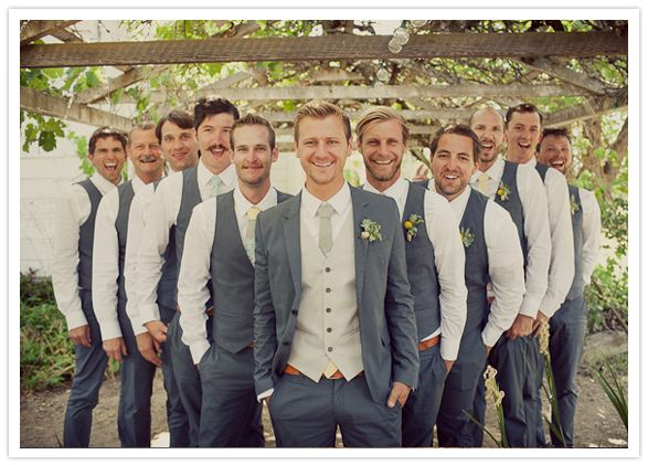 I like the look of the groomsmen in just the vest & groom with .